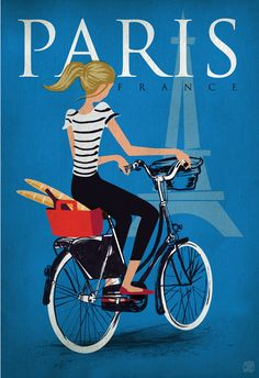 Girl riding a bicycle in Paris, France art poster.