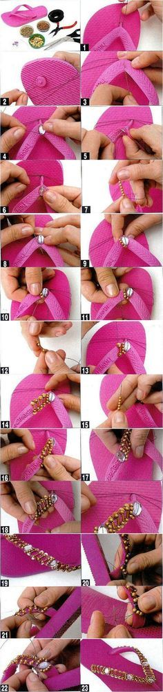 Check out these DIY flip flop projects with beads and embellish your old sandals in a day. Flip flops come in a variety of colors and can match any outfit. Flip Flops Diy, Flip Flop Craft, Crochet Flip Flops, Flip Flop Shoes, Decorating Flip Flops, Do It Yourself Fashion, Embellished Sandals, Beaded Sandals, Creation Couture