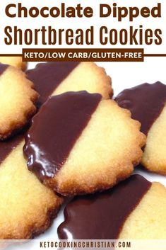 Chocolate Dipped Shortbread Cookies - Keto Low Carb & Gluten Free Light and buttery Low Carb and Keto friendly version of shortbread cookies dipped in melted chocolate! Click The Image To Learn Keto Friendly Desserts, Low Carb Desserts, Low Carb Recipes, Dessert Recipes, Cookie Recipes, Healthy Desserts, Diabetic Desserts, Cookie Ideas, Almond Recipes