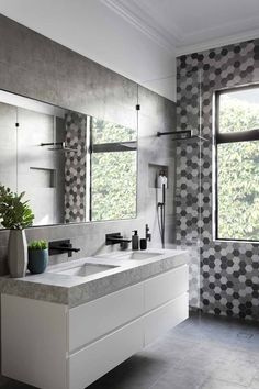 White and grey modern bathroom vanity. KENSINGTON - Bathroom and Kitchen Renovations and Design Melbourne - GIA Renovations