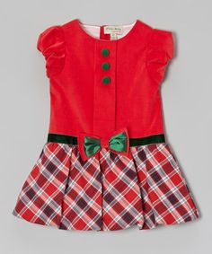 Look what I found on #zulily! Red & Green Plaid Corduroy Bubble Dress - Infant & Toddler #zulilyfinds