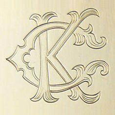 Fancy Two Letter Monogram: Armstrong Engraving & Custom Jewelry Letter K Design, Monogram Design, Monogram Fonts, Monogram Styles, Monogram Letters, Vintage Lettering, Hand Lettering, Vintage Monogram, Wedding Logos