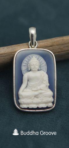 Blue and White Buddha Cameo Pendant, Sterling Silver Buddha Jewelry, Buddha Meditation, Cameo Pendant, Flask, Jewelry Necklaces, Blue And White, Pendants, Symbols, Sterling Silver