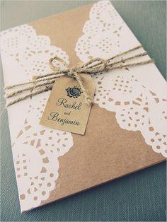 kraft paper and doiley invites @weddingchicks