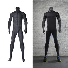 This is a headless male mannequin in an athletic pose with arms at side, for your sporting displays. You can dress him in athletic wear to show he is ready to go. He has a matte grey finish and comes