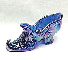 Carnival Glass Rose Slipper Shoe Iridescent Cobalt Blue