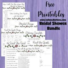Charlotte Bridal Bundle: A Simple Floral Themed Bridal Shower Games Free Printable Free Download Bridal Shower Bundle 1. How well do you know the Bride and Groom? 2. He Said She Said 3. Disney Love Songs (Match Game) 4. Disney Couples (Match Game) 5. Wedding Item A-Z 6. Bridal Bingo 7. 90s Love Songs (Match) 8. Find the Guest TailoredbyTiera tailoredbytiera.com