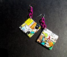 Comics paper earrings - diy