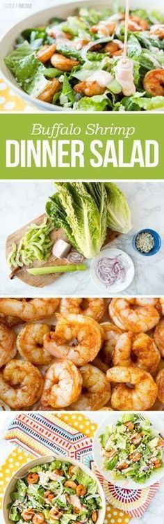 Buffalo Shrimp Dinner Salad- Slim down with this light salad that will definitely please your tastebuds!