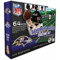 OYO Sports 64-Piece NFL End Zone Building Block Set, Baltimore Ravens, Assorted