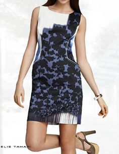 9a82c5885e7c Elie Tahari Grayson Sheath Dress, Size 12, White Blue Abstract Print