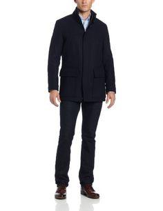 Special Quality IZOD Men's Stand Collar and Contrast Details W Hidden Hood, Midnight, Medium
