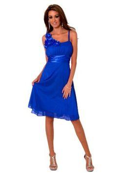 H1350 Cobalt Blue Sleeveless Floral Designer Empire Waist Sheer Overlay Knee Length Cocktail Evening Party Bridesmaid Prom Dress