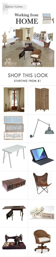 """""""Solution hunters: Working from HOME"""" by etsyynb ❤ liked on Polyvore featuring interior, interiors, interior design, home, home decor, interior decorating, Nursery Rhyme, LumiSource, Samsung and Pottery Barn"""