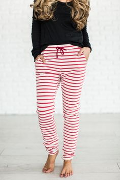 Every girl needs the perfect pair of comfs and what's better than stripes & totally comfortable? Nothing. That's what makes these so great! This new color though! It's not red, it's not pink.. it's li
