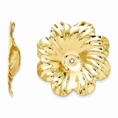 14k Yellow Gold Polished Floral Earrings Jackets