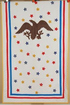 """RARE Vintage """"American Eagle & 50 Stars"""" Antique Crib Quilt ~PATRIOTIC!"""