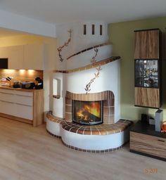 Heizkamin - Kachelofen Stoisser Gnas - Kamine Herde Home Fireplace, Fireplace Design, Corner Wood Stove, Earthship Home, Tiny House Cabin, Rocket Stoves, Earth Homes, Home Remodeling, House Plans