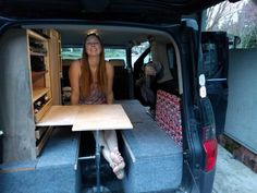 Sleeping platform, table, and storage area (only problem is no back seats) - Honda Element Owners Club Forum Cargo Van Conversion, Camper Conversion, Honda Element Camping, Ford Transit Connect Camper, Jeep Camping, Camping Tips, Adventure Trailers, Kayak Rack, Sink Or Swim