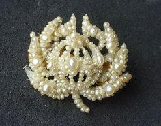 Antique Georgian Seed Pearl Flower Veil Pin by ShirleysJewellery, $138.00