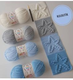 Bobble Stitch Crochet, Crochet Square Blanket, Granny Square Crochet Pattern, Crochet Squares, Crochet Blanket Patterns, Baby Knitting Patterns, Baby Blanket Crochet, Crochet Stitches, Crochet Yarn