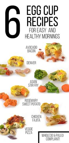 Egg Cups are a simple way to make breakfast ahead and have a simple protein packed meal on the go!  These 6 variations of Egg Cups are Whole30 approved and so delicious!