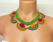 Crochet Handmade Needlework Lace Necklace Jewellery,Gift Necklace,Christmas Gift, Lariat Jewellery, Gift Ideas for Her