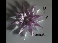 DIY/MK/Tutorial/Kanzashi flower white&violet