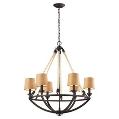 Featuring rope accents for a subtle nautical touch, this charming chandelier is perfect for illuminating your living room or foyer.