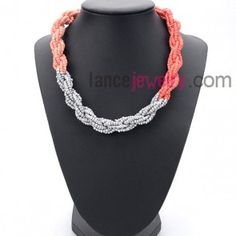 Sweet series necklace with silver and the gradient orange measles