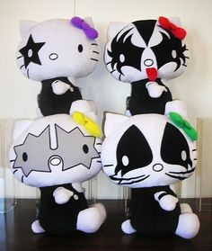 A KISS-Hello Kitty worldwide deal featuring four plush figures reimagine the four KISS band members, as they appeared on the jacket cover from the band's Dynasty album.