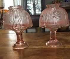 Pair Of Vintage Pink Glass Fairy Lamps. Glass Candlestick Holders, Glass Candlesticks, Glass Votive, Mason Jar Wine Glass, Light Pink Rose, Fairy Lamp, Vintage Fairies, Glass Collection, Vintage Lighting