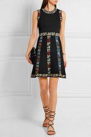 Floral-intarsia knitted mini dress