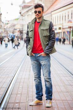 Fashion menswear: mens parka green jacket with leather sleeve and ripped denim. Miran Kraljević, pravo i nogomet