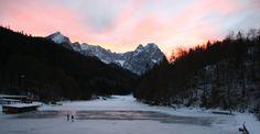Abendrot im Winter am Riessersee, Riessersee Hotel Resort, Garmisch-Partenkirchen, Bavaria - Bayern - www.riessersee.com