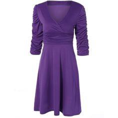 Ruched V Neck Surplice Dress ($24) ❤ liked on Polyvore featuring dresses, rosegal, gathered dress, cross over dress, scrunch dress, ruched dress and purple dresses