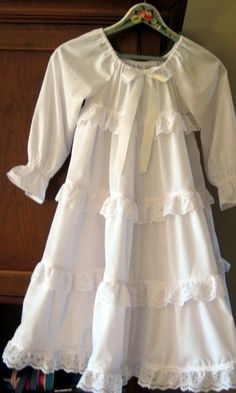 Lacy Twirly Long Nightgown for girls in White by SadieKayBoutique, $89.00