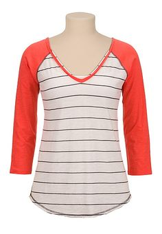 3/4 contrast sleeve stripe tee (original price, $26) available at #Maurices