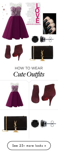 """Cute dark outfit"" by sydnardizzi on Polyvore featuring Christian Louboutin, Yves Saint Laurent and BERRICLE"