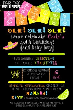 Free Editable Fiesta Invitation, perfect for your mexican fiesta themed birthday or shower. This site has lots of great free printables and party ideas!