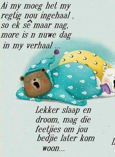 lekker slaap Lekker Dag, Good Knight, Afrikaanse Quotes, Goeie Nag, Goeie More, Good Night Quotes, Sleep Tight, Qoutes, Teddy Bear