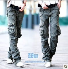 Army Cargo Pants New 2013 Women's multi-pocket Straight Casual Overalls Baggy Camouflage Pants For Women $48.81