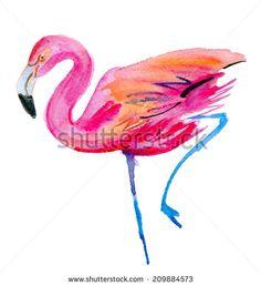 Flamingo watercolor sketch - stock photo