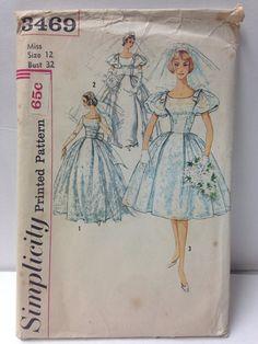3469 S Glam Wedding Dress Uncut Pattern Sz 12 B32 by IdealPatterns