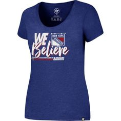 '47 Women's 2017 NHL Stanley Cup Playoffs New York Rangers Royal T-Shirt, Size: Medium, Team
