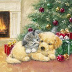 Christmas Gift Box, Christmas Scenes, Christmas Animals, Christmas Cats, Vintage Christmas, Christmas Time, Holiday, Cute Animals Images, Hello Kitty Christmas