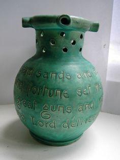 Arts & Crafts pottery motto puzzle jug Baron Barnstaple Devon E20thC