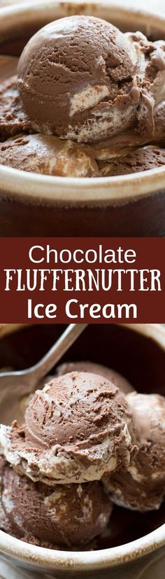 Chocolate Fluffernutter Ice Cream - Rich chocolate ice cream with a swirl of fluffernutter (peanut butter and marshmallow cream) - what a treat anytime of the year! www.savingdessert.com