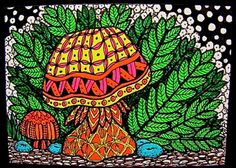 ACEO+Print+Zentangle+Inspired+Mushrooms+and+Fern+by+IrelandBrady,+$1.00
