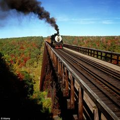 The excursion steam locomotive traveled the Kinzua Viaduct, in the Allegheny National Forest, as recently as 2002 (1 yr before a tornado destroyed it).